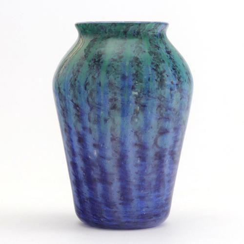 Monart Art Deco Blue & Turquoise Striped Glass Vase c.1930 (1 of 8)