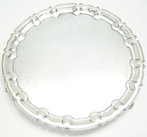 English Antique Solid Silver Tray, Super Design Fresh & Clean c.1914 (1 of 7)