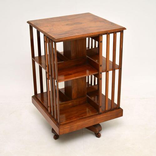 Antique Victorian Walnut Revolving Bookcase (1 of 10)