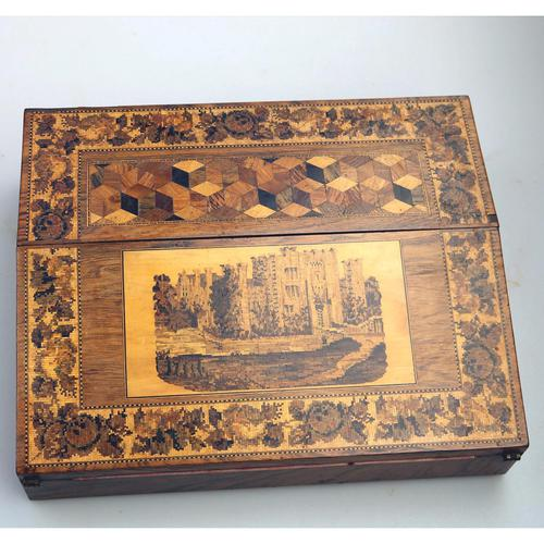 A Superior Tunbridge Ware Fitted Lap Desk Hever Castle C. 19thc (1 of 14)