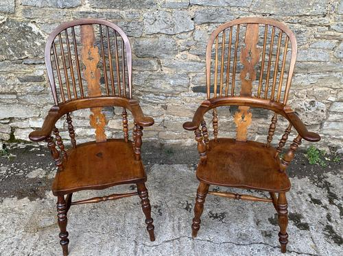 Pair of Antique Broad Arm Windsor Chairs (1 of 28)
