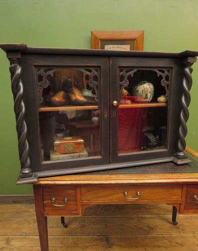 Antique Victorian Gothic Black Painted Curio Display Cabinet (1 of 13)