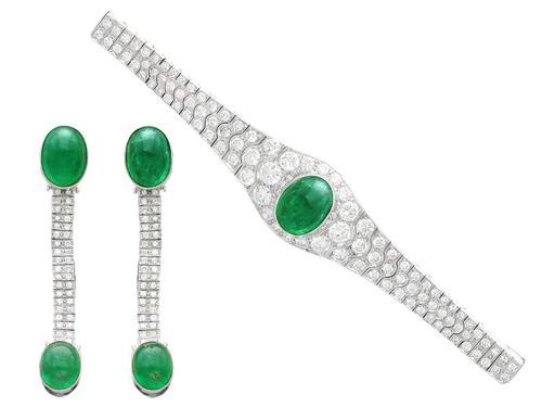 37.17ct Emerald & 6.55ct Diamond, 18ct White Gold Jewellery Set - Antique French c.1925 (1 of 23)