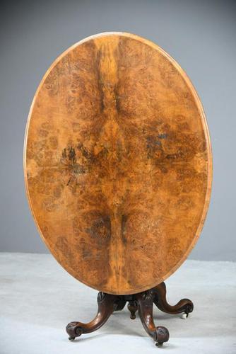Antique Victorian Burr Walnut Tilt Top Table (1 of 12)