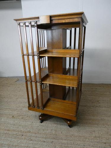 Large 19th Century Oak Revolving Bookcase (1 of 9)