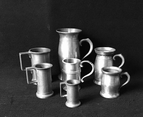 7 Antique Continental Pewter Spirit Measures (1 of 3)