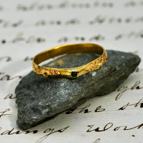 The Ancient Medieval Green & Gold Bishop's Stirrup Ring (1 of 5)