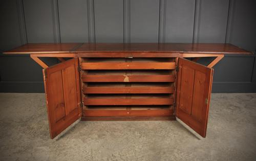 Victorian Pitch Pine Drop Flap Plan Chest (1 of 18)