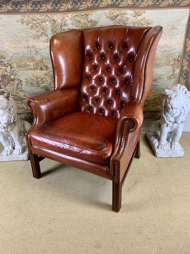 Georgian Style Leather Wingback Armchair (1 of 5)