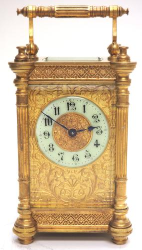 Fine Antique French 8-day Fleur De Lis Decorated Panel 8-day Carriage Clock Timepiece c.1890 (1 of 10)