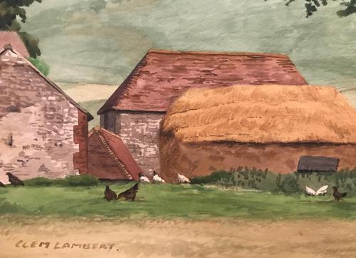 Original watercolour 'A Sussex farm' by Clem Lambert 1855-1925. Signed c.1900 (1 of 2)
