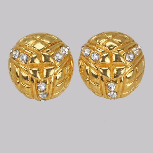 Chanel Rhinestone Earrings Crystal Vintage Gold Tone Quilted Earrings with Box (1 of 5)
