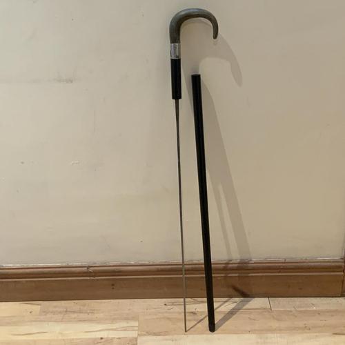 Top's Gentleman's Ebony and Horn Silver Collar Walking Stick Sword Stick (1 of 1)