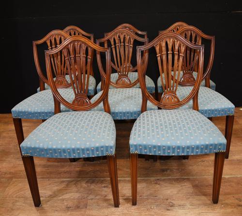 Set 8 Hepplewhite Dining Chairs Mahogany (1 of 7)