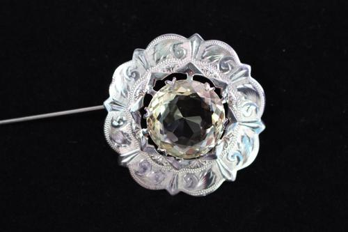 Scottish silver and citrine coloured stone brooch (1 of 3)