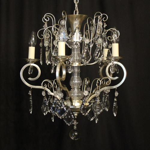 French Silver Gilded 5 Light Antique Chandelier (1 of 11)