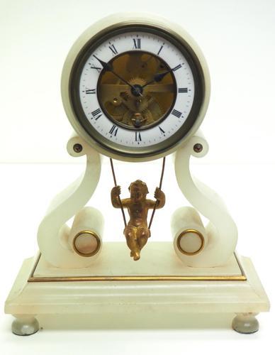 Rare Antique French Farcot Mantel Clock 8-Day Swinging Cherub Mantel Clock (1 of 11)