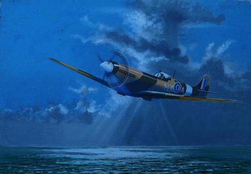 Spitfire over the sea by John Pooler (1 of 4)