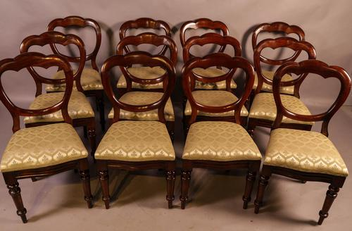 Set of 12 Victorian Mahogany Balloon Back Dining Chairs (1 of 10)