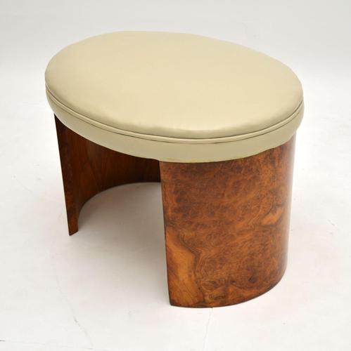 Art Deco Burr Walnut & Leather Stool (1 of 8)
