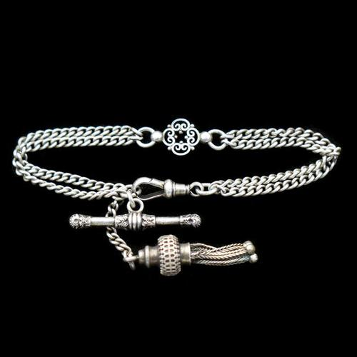 Antique Sterling Silver Albertina Albert Watch Chain Bracelet with Tassel (1 of 9)