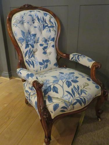 Victorian Walnut Armchair New Upholstery c.1860 (1 of 11)