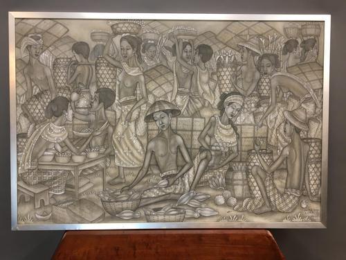 "Tempera on Canvas- ""The Friut Market"", Ubud School (1 of 3)"