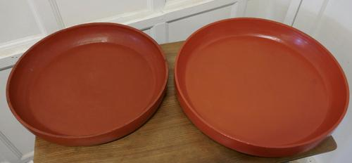 Pair of North African Folk Art Hand Made Red Ochre Dishes (1 of 6)
