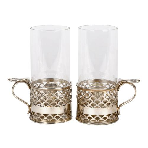 Elkington Pair of Crested Silver Plated Glass Storm Lamp Handled Lanterns 1888 (1 of 17)