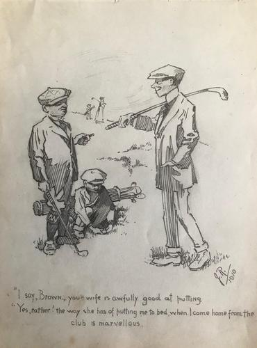 Original pencil drawing of 2 golfers and their caddie. Initialled J.R. and dated 1910 (1 of 1)