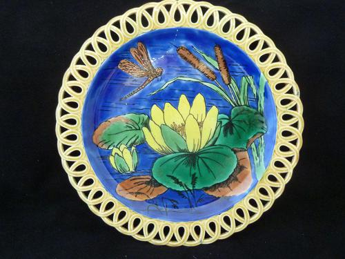 Stunning Wedgwood Majolica Aesthetic Period Plate, c1880's Slight A/F but Lovely (1 of 9)