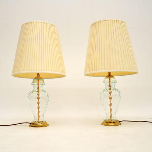 Pair of Vintage Brass & Glass Table Lamps (1 of 6)