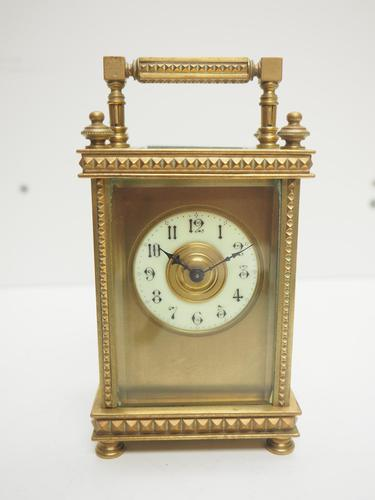 Antique French 8-day Carriage Clock Unusual Masked Dial Case with Enamel Dial (1 of 10)