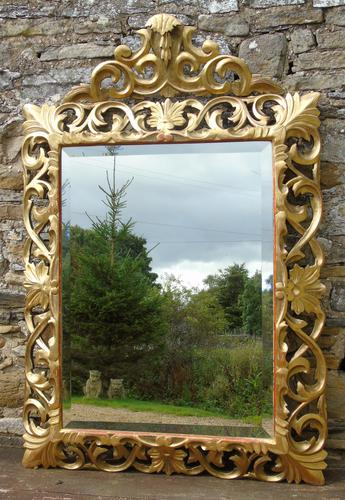 Large Antique Florentine Mirror with Crest (1 of 10)