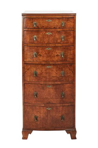 Geo Style Walnut 6 Drawer Bowfront Chest Circa 1920s (1 of 8)