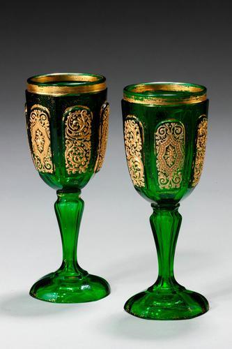 Pair of Bohemian Dark Green Glass Goblets (1 of 3)