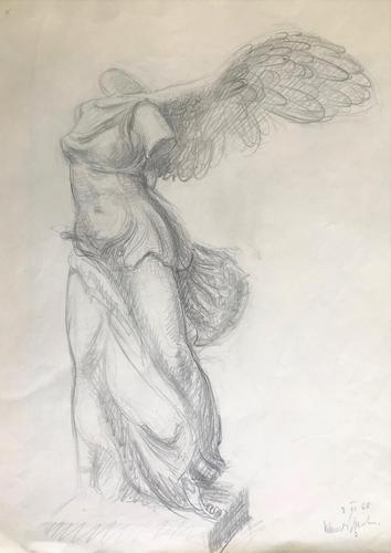 Original pencil drawing 'Nike of Samothrace' by Helmut Petzsch 1920-2008. Signed and dated 2nd June 1948. (1 of 1)