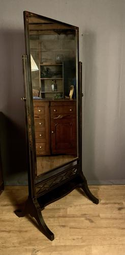 Black  Lacquered Chinoiserie Edwardian Cheval Dressing Mirror (1 of 12)