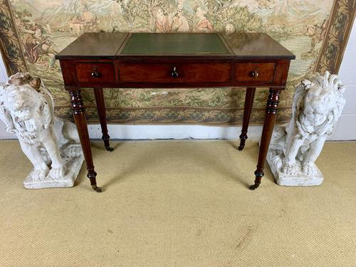 Victorian Mahogany Writing Desk with Green Leather (1 of 9)