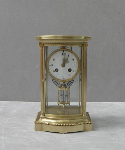 French Belle Époque Brass Four Glass Mantel Clock by Japy Freres (1 of 7)
