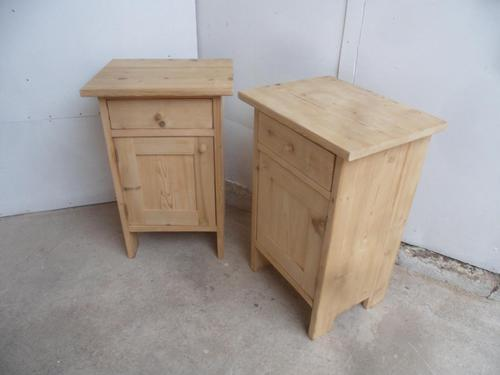Lovely Pair of Wide Antique Pine Bedside Cabinets to wax / paint (1 of 7)