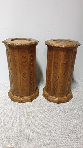 Rare Pair  of Pine Column Stands (1 of 5)