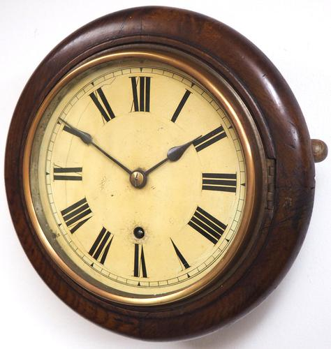 Rare HAC 7 Inch Dial Wall Clock Oak surround painted dial station clock (1 of 5)