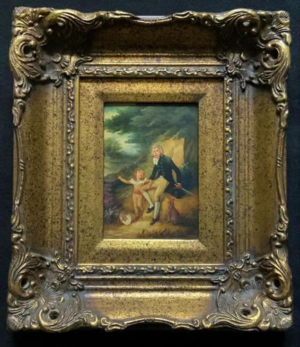 Lovely 18th Century Georgian Revival Gilt-Framed Oil on Panel Portrait Painting (1 of 8)