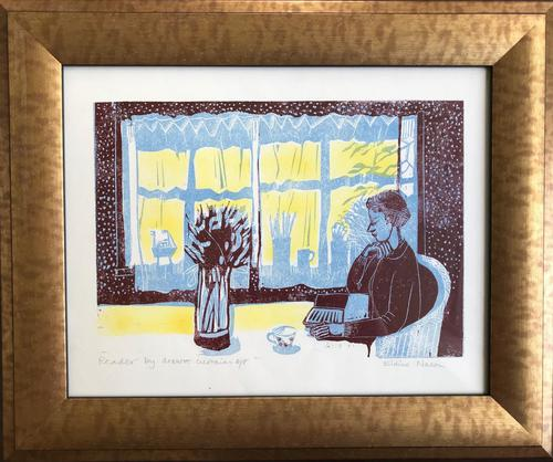 Original linocut 'reader by drawn curtains. Artist's Proof' by Elaine Nason c 1985 (1 of 1)
