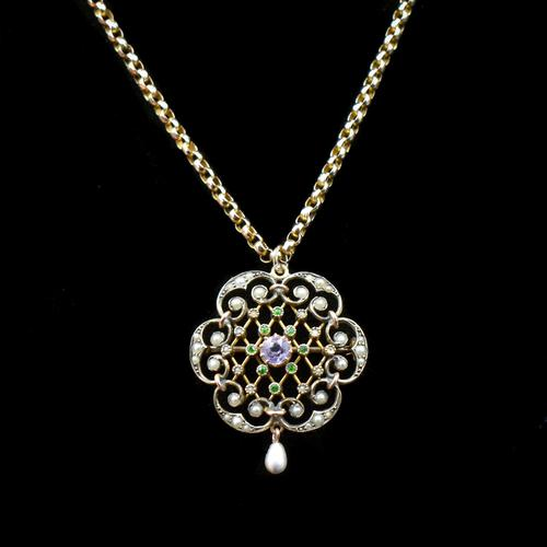 Antique Amethyst & Pearl Lavalier 9ct 9K Gold Pendant Brooch & Chain Necklace (1 of 9)