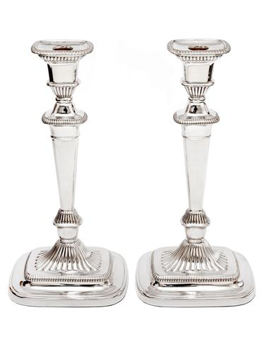 Georgian Style Candlesticks with Plain Columns and Swept Fluted Rectangular Bases (1 of 3)