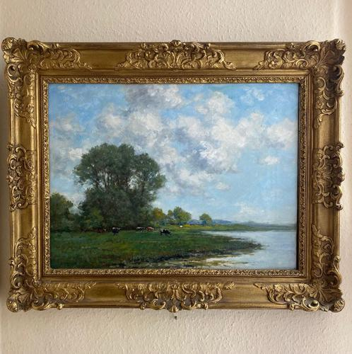 Good Gilt Framed Oil Painting on Canvas of Cattle Grazing on a Riverbank. Signed by the Artist T.E. Francis (1 of 4)