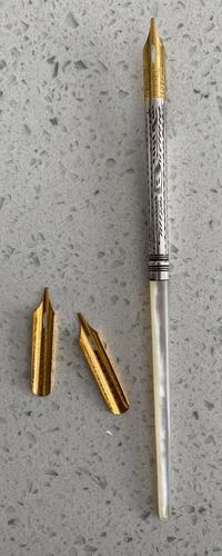 Victorian Silver & Mother of Pearl Pen (1 of 2)