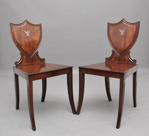 Pair of Early 19th Century Mahogany Hall Chairs (1 of 6)